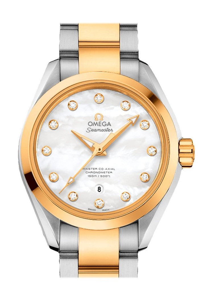 OMEGA Seamaster Aqua Terra 34mm White Steel Yellow Gold Women Automatic 231.20.34.20.55.002