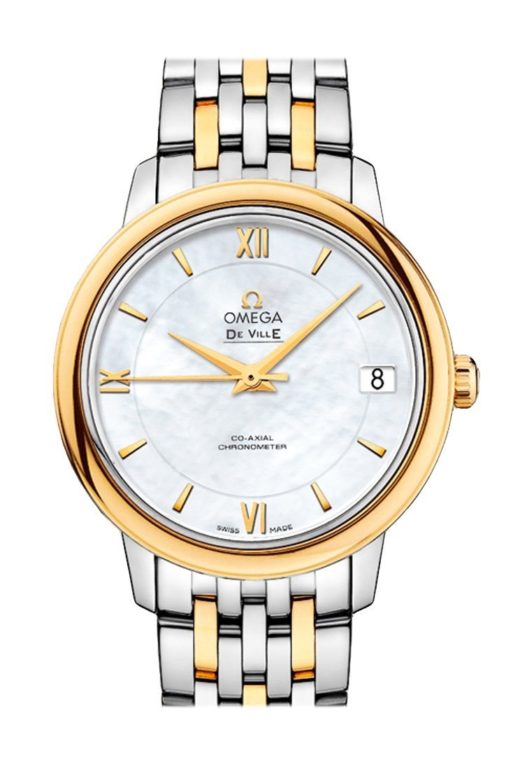 Omega Prestige 32.7 Mm White Steel Yellow Gold Women Automatic 424.20.33.20.05.001 Watch