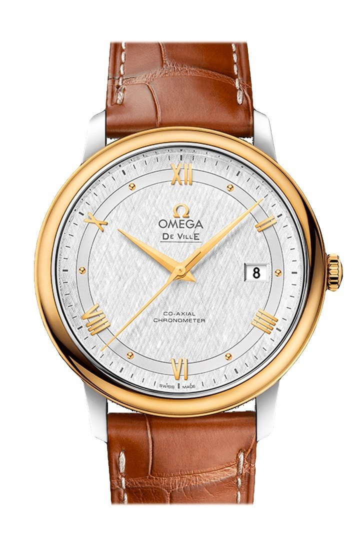 Omega Prestige 39.5Mm Silver Steel Yellow Gold Mens Automatic 424.23.40.20.02.001 Watch