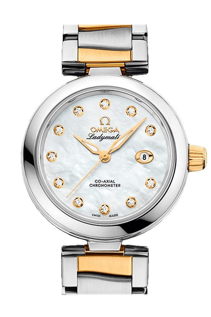 Omega De Ville 34Mm White Steel Yellow Gold Women Automatic 425.20.34.20.55.003 Watch