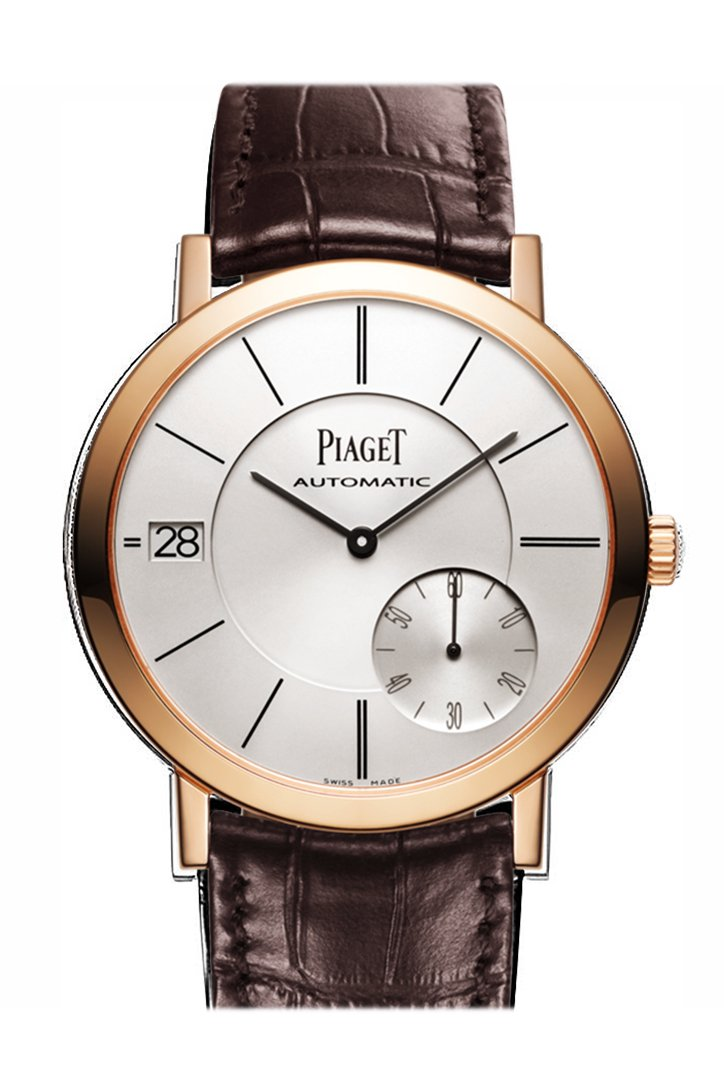 Piaget Altiplano Automatic Silver Dial Brown Leather Mens Watch Goa38131