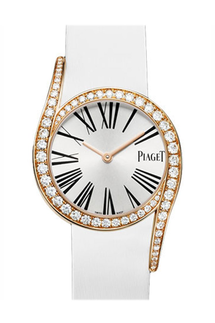 Piaget Limelight Silver Dial 18Kt Rose Gold Diamond Ladies Watch Goa38161