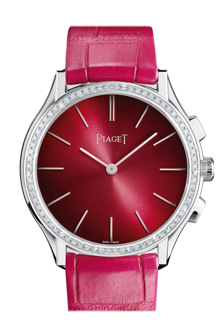 Piaget Altiplano Black and Silver Dial 18kt White Gold Black Leather Men's Watch