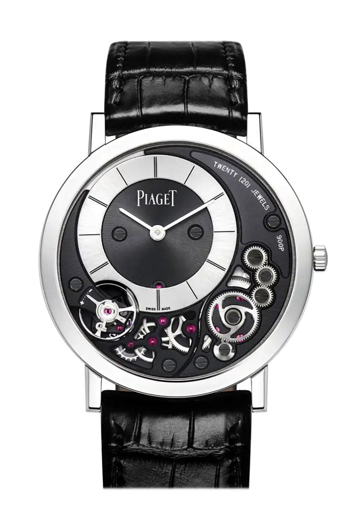 Piaget Altiplano Black And Silver Dial 18Kt White Gold Leather Mens Watch G0A39111