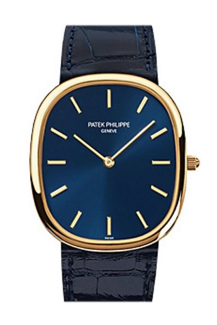 Patek Philippe Golden Ellipse Yellow Gold 31Mm Mens Watch 3738/100J-012 Blue