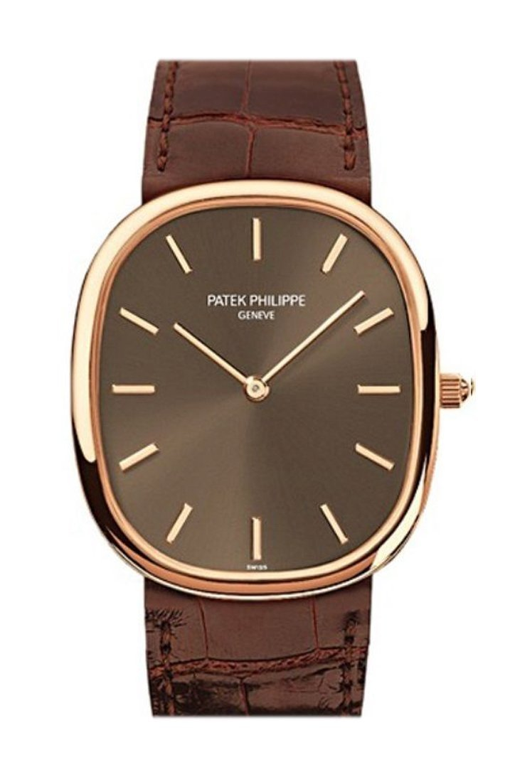Patek Philippe Golden Ellipse Automatic Brown Dial 18 Kt Rose Gold Mens Watch 3738/100R-001