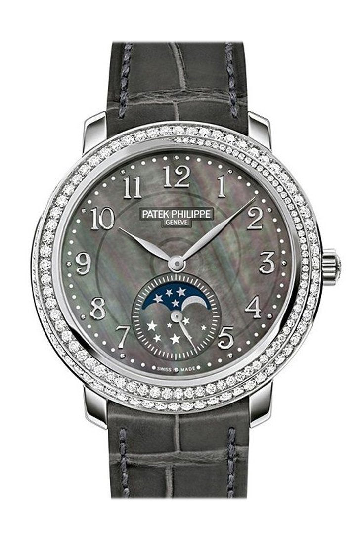 Patek Philippe Complications Black Mother Of Pearl Dial Diamond Bezel 18Kt White Gold Leather 33Mm
