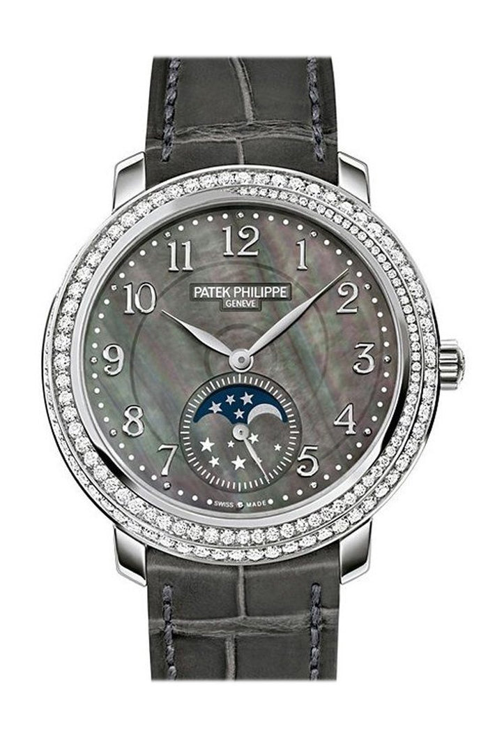 Patek Philippe Complications Black Mother of Pearl Dial Diamond Bezel 18kt White Gold Leather 33mm Ladies Watch 4968G-001