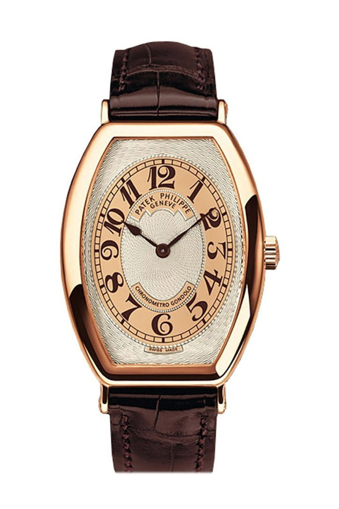 Patek Philippe Gondolo Silver Brown Dial 18kt Rose Gold Brown Leather Men's Watch 5098R