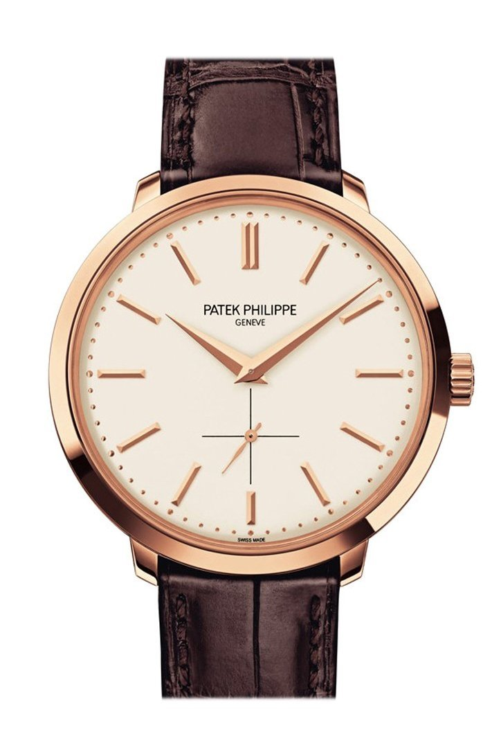 Patek Philippe Calatrava Silver Dial 18K Rose Gold Leather 38Mm Mens Watch 5123R-001