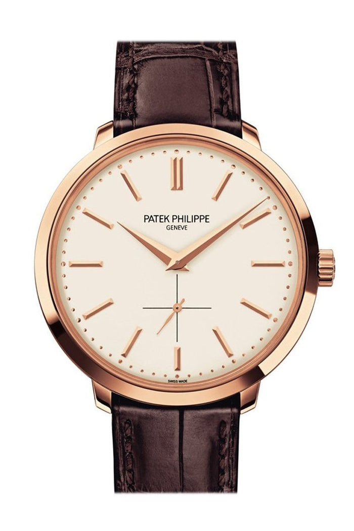 Patek Philippe Calatrava Silver Dial 18k Rose Gold Brown Leather 38mm Men's Watch 5123R