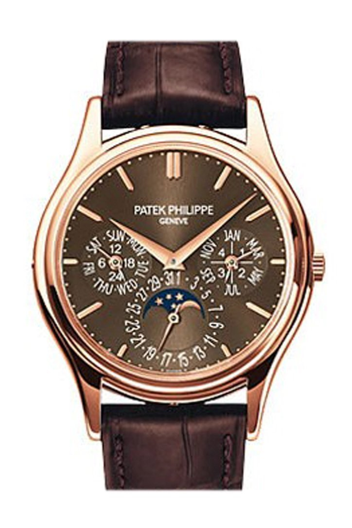 Patek Philippe Grand Complications  Black Sunburst Rose Gold Leather 5208R-001