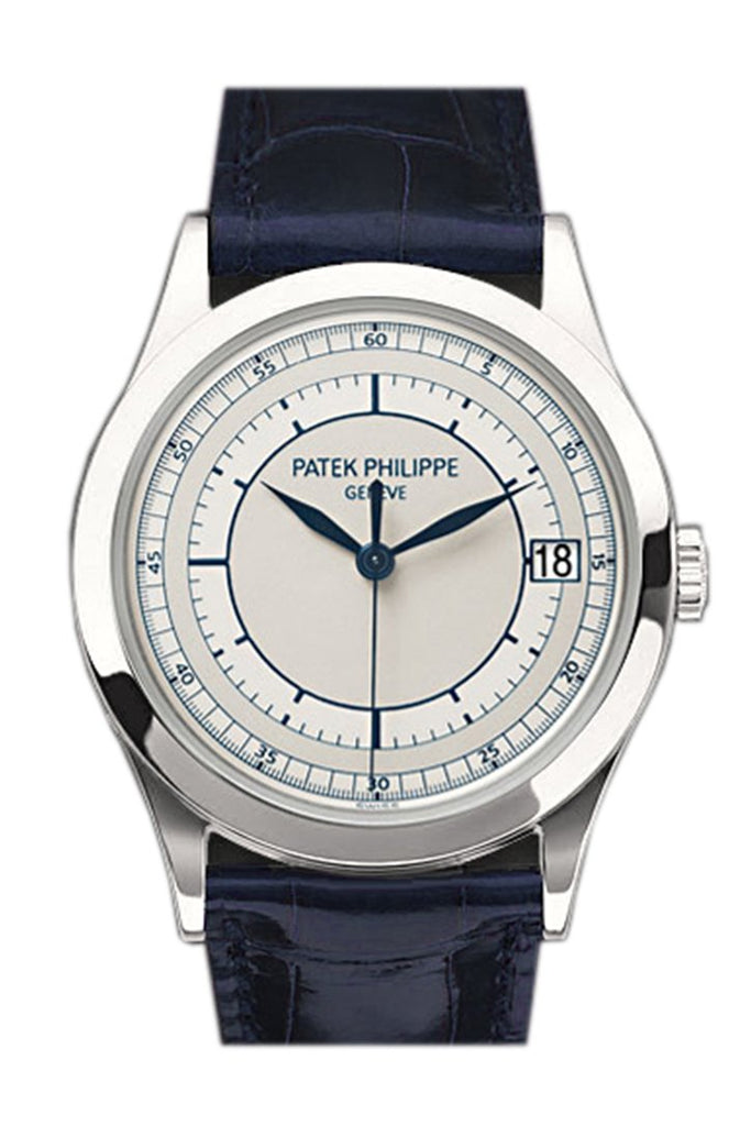 Patek Philippe Calatrava Automatic Silver Dial 18Kt White Gold Mens Watch 5296G-001