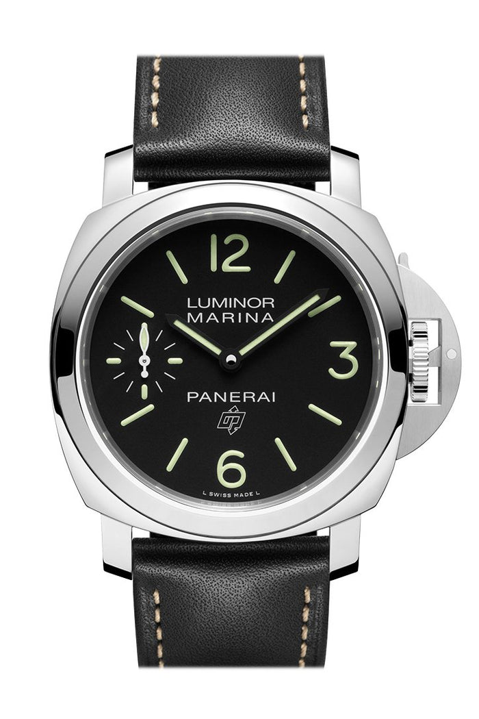 Panerai Luminor Marina Base 3 Day Black Leather Black Dial Watch PAM00776