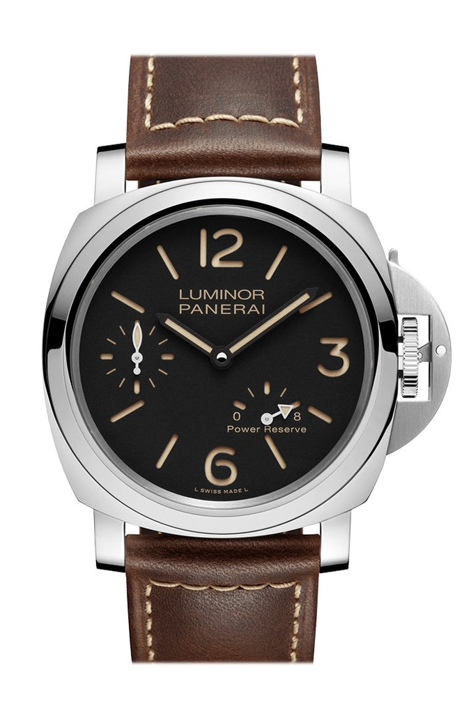 Panerai Luminor 8 Day Brown Leather Black Dial Watch Pam00795