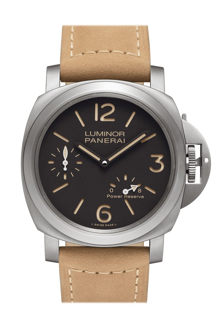 Panerai Luminor 8 Day Beige Leather Black Dial Watch PAM00797