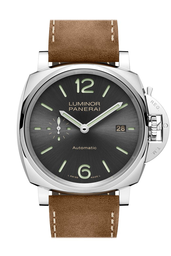 Panerai Luminor Due Brown Leather Grey Dial Watch PAM00904