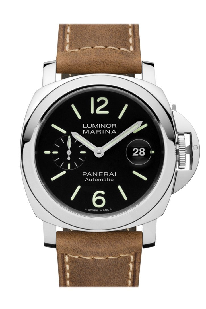 Panerai Luminor Marina 3 Day Brown Leather Black Dial Watch Pam01104
