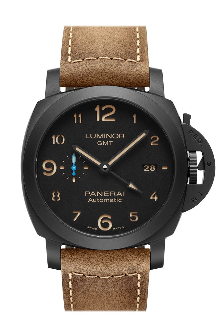 Panerai Luminor Ceramica Brown Leather Black Dial Watch Pam01441
