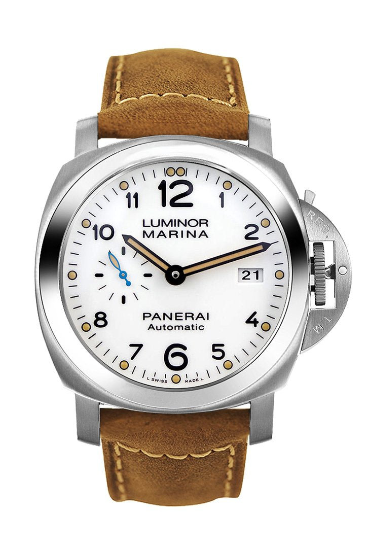 Panerai Luminor 3 Day Brown Leather White Dial Watch PAM01499