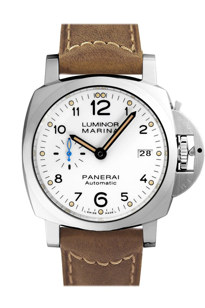 Panerai Luminor 3 Day Brown Leather White Dial Watch Pam01523