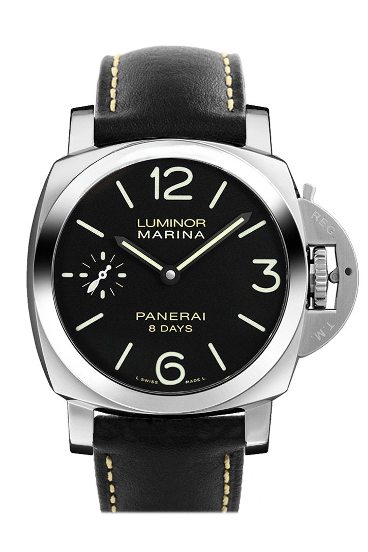 Panerai Luminor Marina Black Dial Leather Mens Watch Pam00510