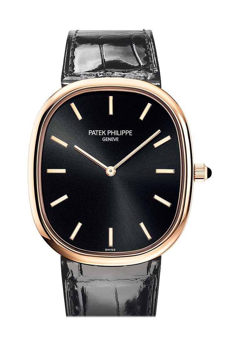 Patek Philippe Ellipse Black Dial Automatic In Rose Gold Watch 5738R