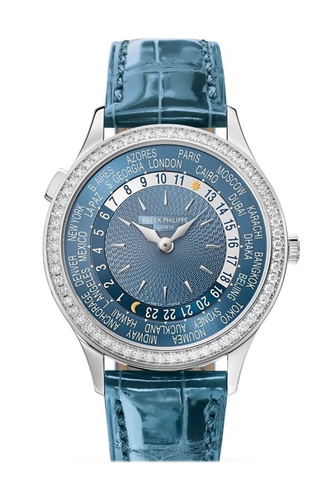 Patek Philippe Complications World Time Automatic Diamond Blue Dial Watch 7130G-014