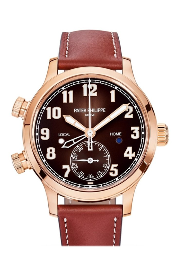 Patek Philippe Calatrava Pilot Travel Time Brown Sunburst Dial Automatic Ladies Watch 7234R-001