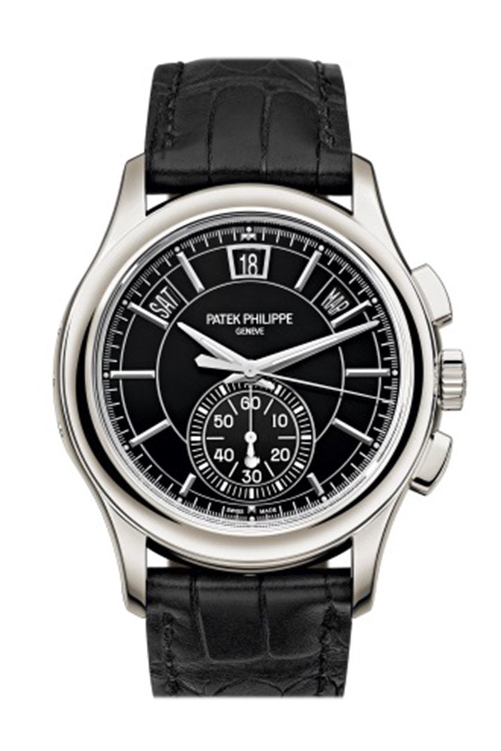 Patek Philippe Complications Black Dial Annual Calendar Platinum Mens Watch 5905P-010