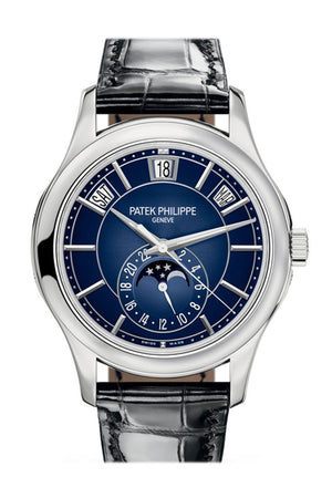 Patek Philippe Complications Blue Sunburst Dial Automatic Mens Annual Calendar Watch 5205G-013