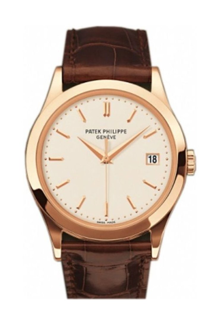 Patek Philippe Calatrava Opaline Dial 18Kt Rose Gold Brown Leather Mens Watch 5296R-010