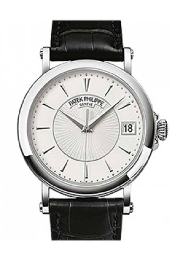 Patek Philippe Calatrava Automatic White Dial Black Leather Mens Watch 5153G-010