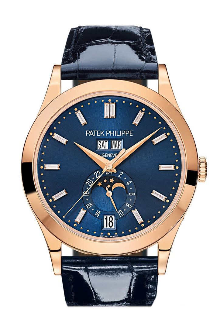 Patek Philippe Complications Blue Diamond Dial Annual Calendar Moon Phases Rose Gold 5396R