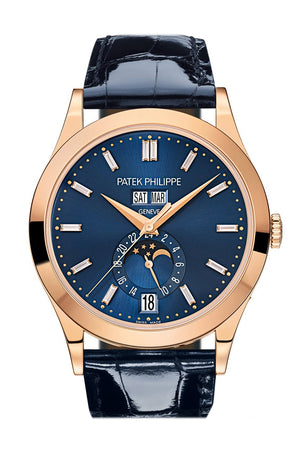 Patek Philippe Complications Blue Diamond Dial Annual Calendar Moon Phases Rose Gold 5396R-015