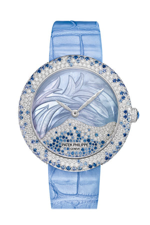 Patek Philippe Calatrava Automatic Mother of Pearl and Blue Sapphire White Gold Ladies Watch 4899/901G-001 4899