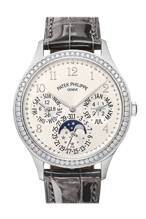Patek Philippe Grand Complications Perpetual Automatic Diamond White Dial Ladies Watch 7140G-001 7140G