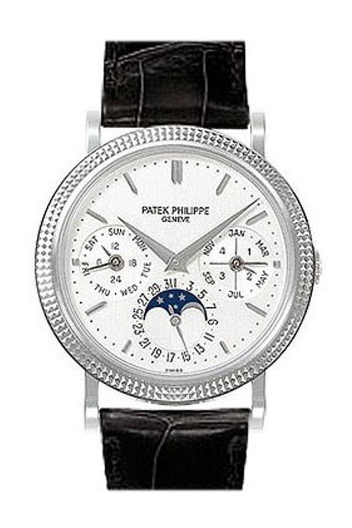 Patek Phillippe Annual Calender Moonphase White Dial Black Leather Automatic Men's Watch 5039G