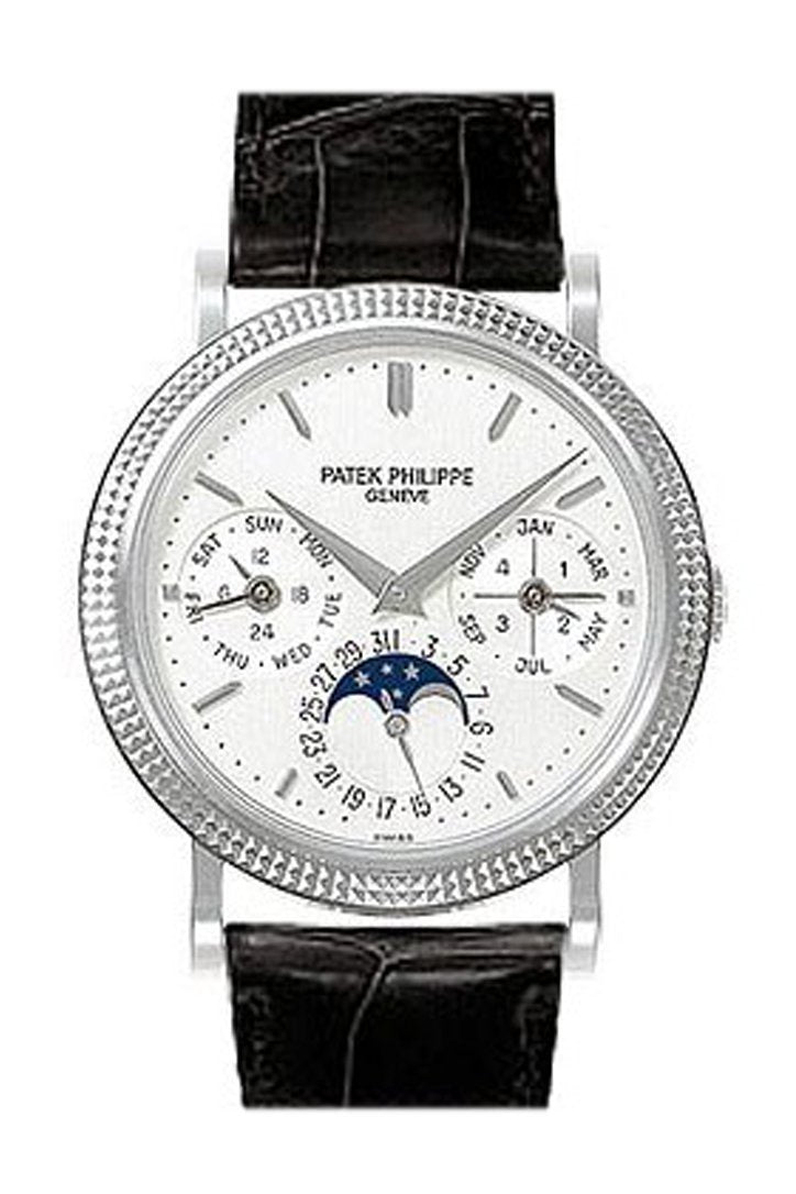 Patek Phillippe Annual Calender Moonphase White Dial Black Leather Automatic Mens Watch 5039G Pre