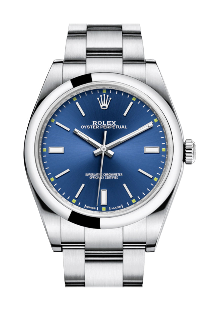 ROLEX Oyster Perpetual 39 Blue Dial Steel Men's Watch 114300