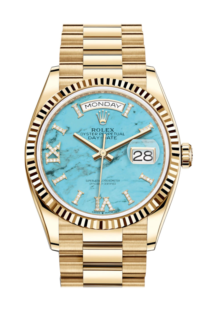 ROLEX Day-Date 36 128238 Gold Watch (Turquoise)