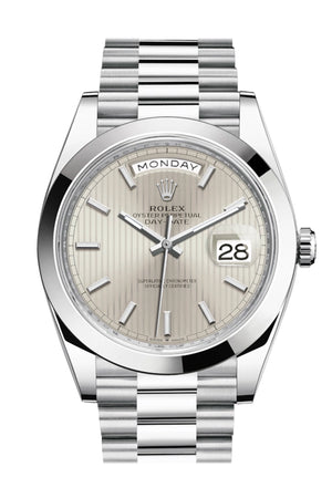 Rolex Day-Date 40 Silver Stripe Motif Dial Dome Bezel Platinum President Automatic Men's Watch 228206