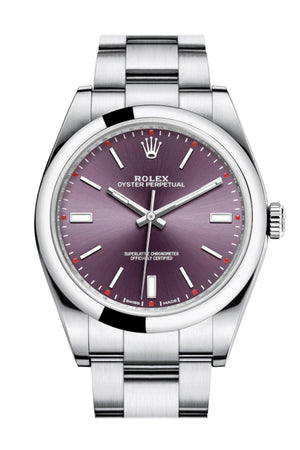 ROLEX OYSTER PERPETUAL 39 Red Grape Dial Steel Men's Watch 114300