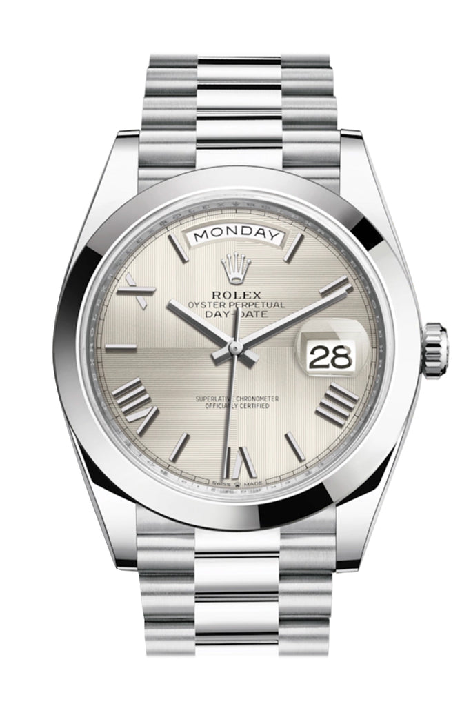 Rolex Day-Date 40 Silver Quadrant Motif Roman Dial Dome Bezel Platinum President Automatic Men's Watch 228206