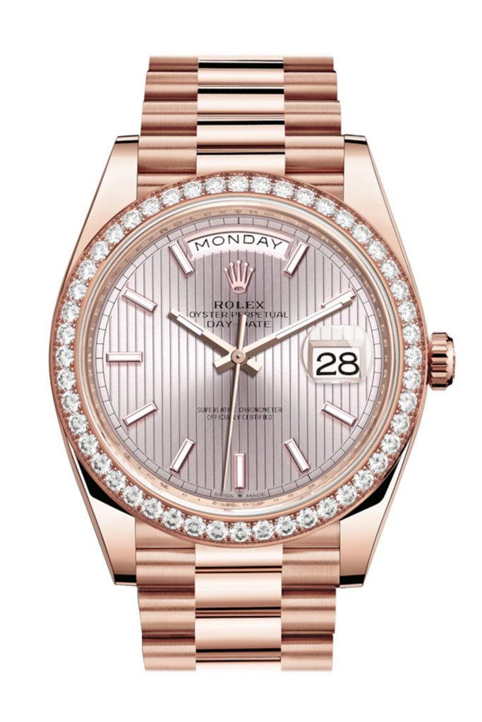 Rolex Day-Date 40 Sundust Stripe Motif Dial Diamond Bezel 18K Everose gold President Automatic Men's Watch 228345RBR 228345