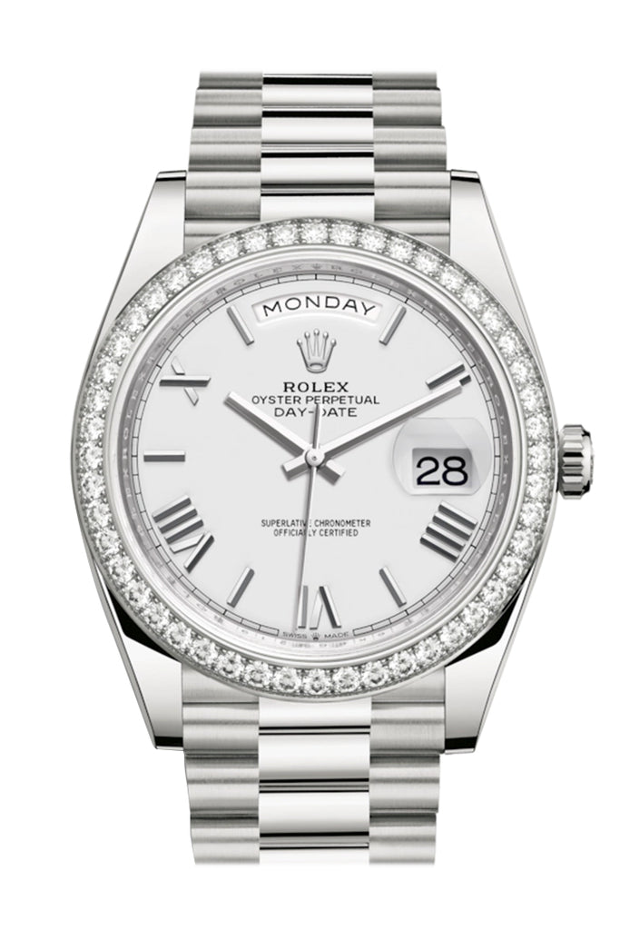 Rolex Day-Date 40 White Roman Dial Diamond Bezel White Gold President Automatic Men's Watch 228349RBR 228349