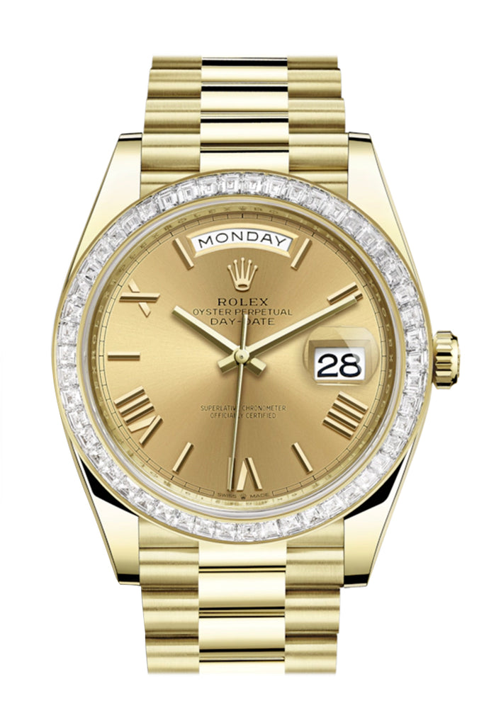 Rolex Day-Date 40 Champagne Roman Dial 40 Baguette Diamond Bezel 18K Yellow Gold President Automatic Men's Watch 228398TBR  228398