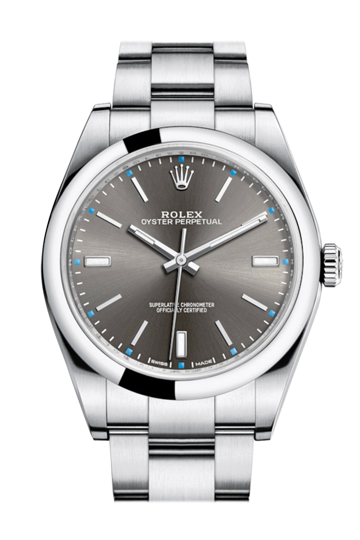 ROLEX OYSTER PERPETUAL 39 Rhodium Dial Men's Watch 114300