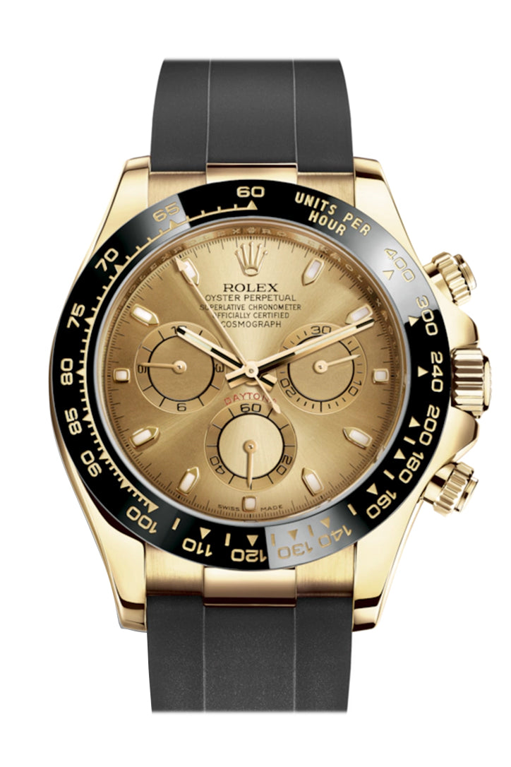 Rolex Cosmograph Daytona Champagne Yellow Gold Oysterflex Strap Mens Watch 116518LN 116518