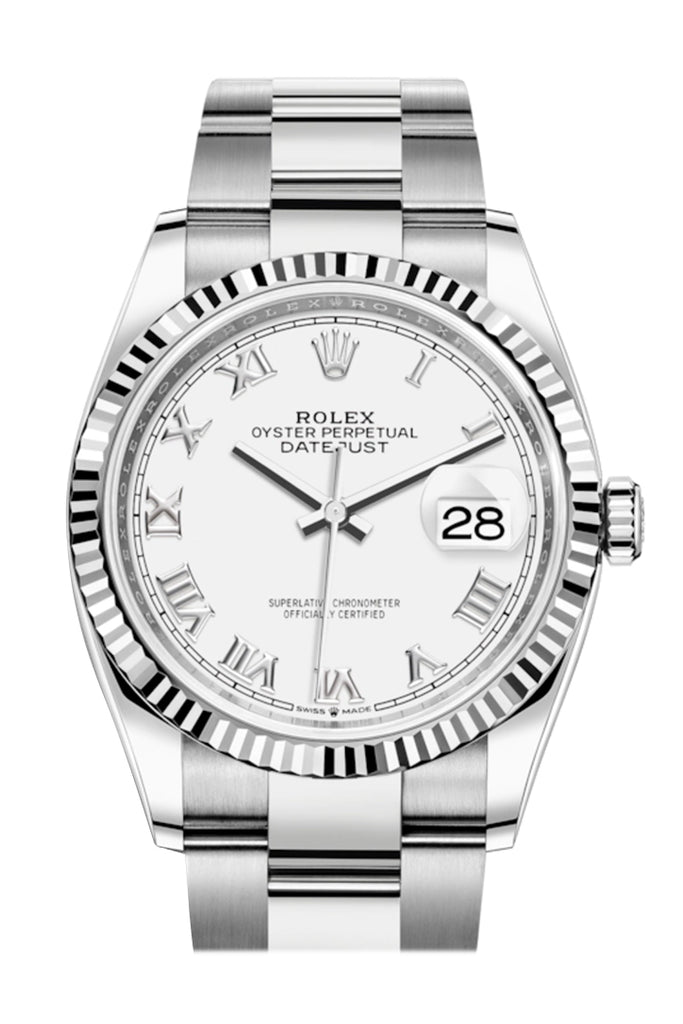 Rolex Datejust 36 White Roman Dial Automatic Watch 126234